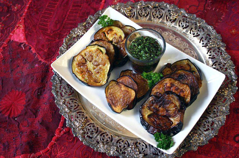 Fried Eggplant Garlic Parsley Dressing