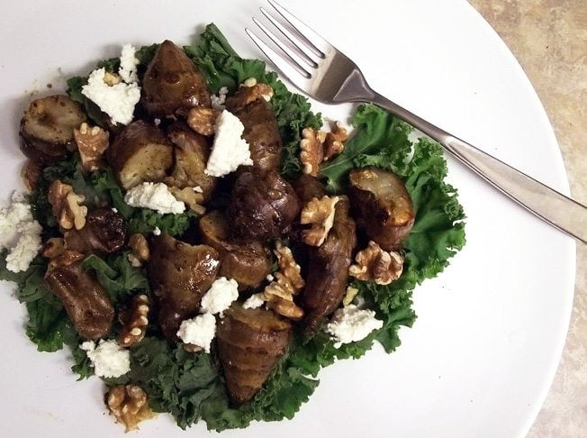 Roasted Jerusalem Artichoke and Walnut Salad with Ricotta