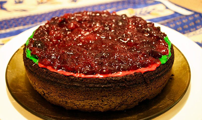 Old Fashioned Chocolate Cake with Cranberry Topping for SRC and vegan CCC