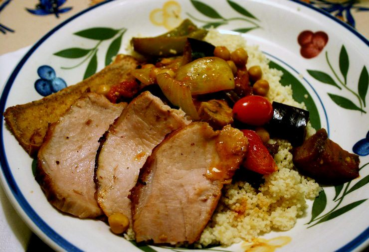 Roasted Vegetable Couscous with Vegetarian or Carnivore Options