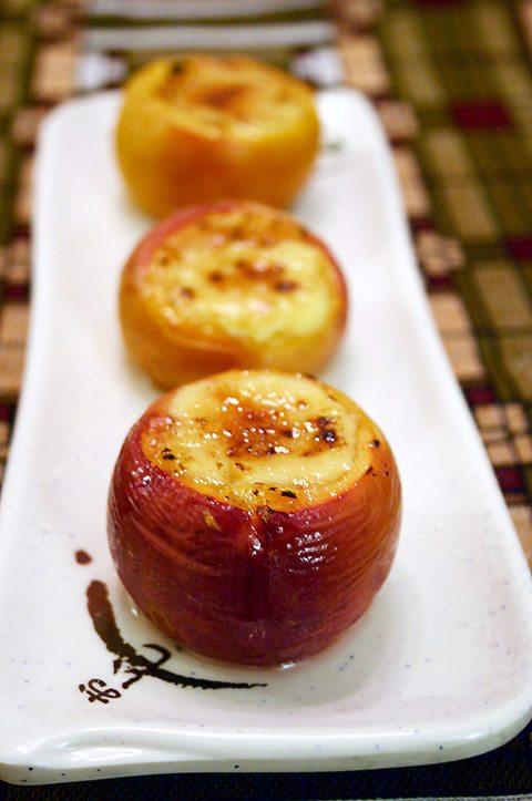 Baked Peaches and Crème Brûlée