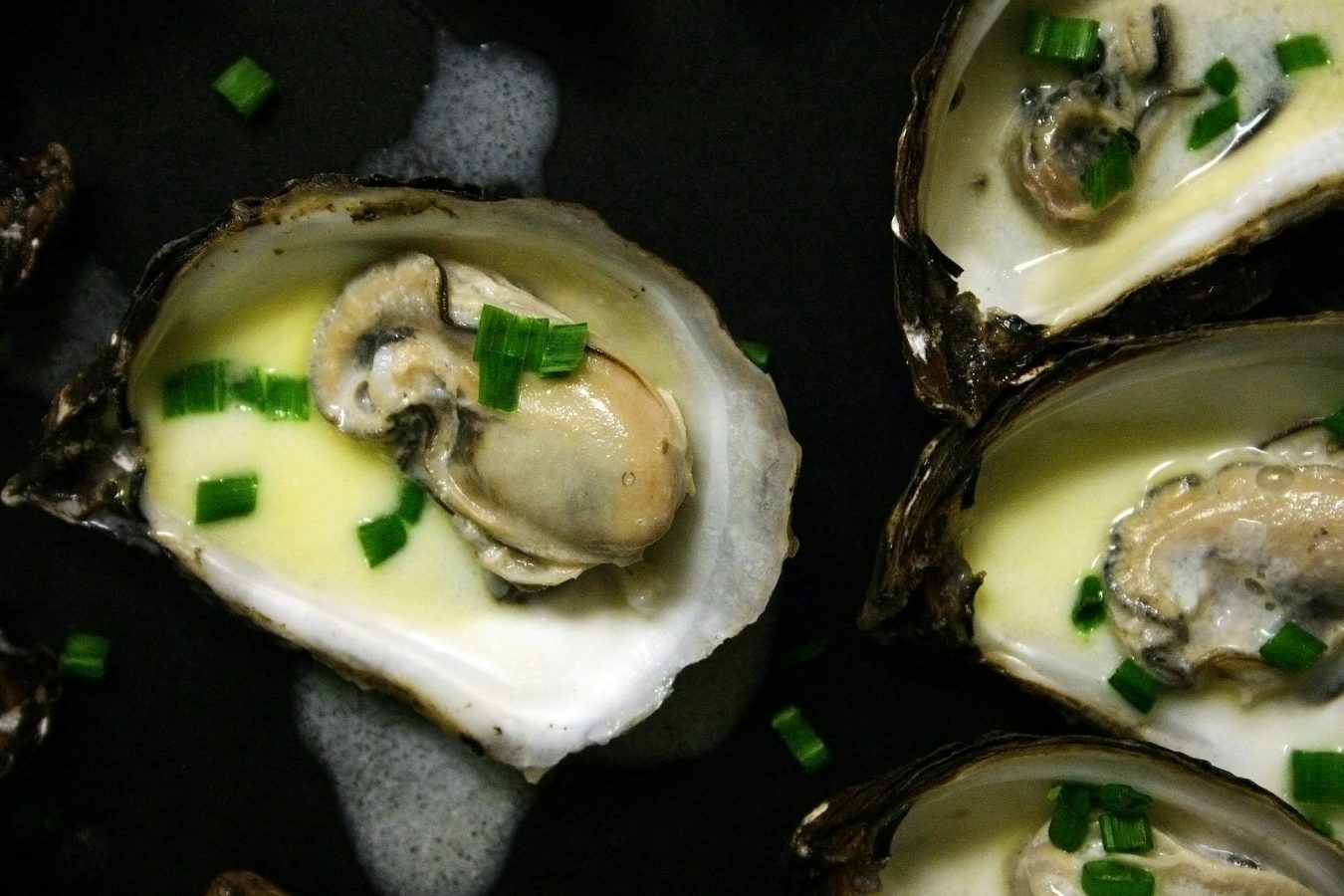 Poached Oyster with Cream and Champagne