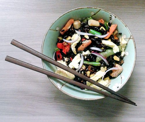 Black Asian Rice with Stir Fried Vegetables