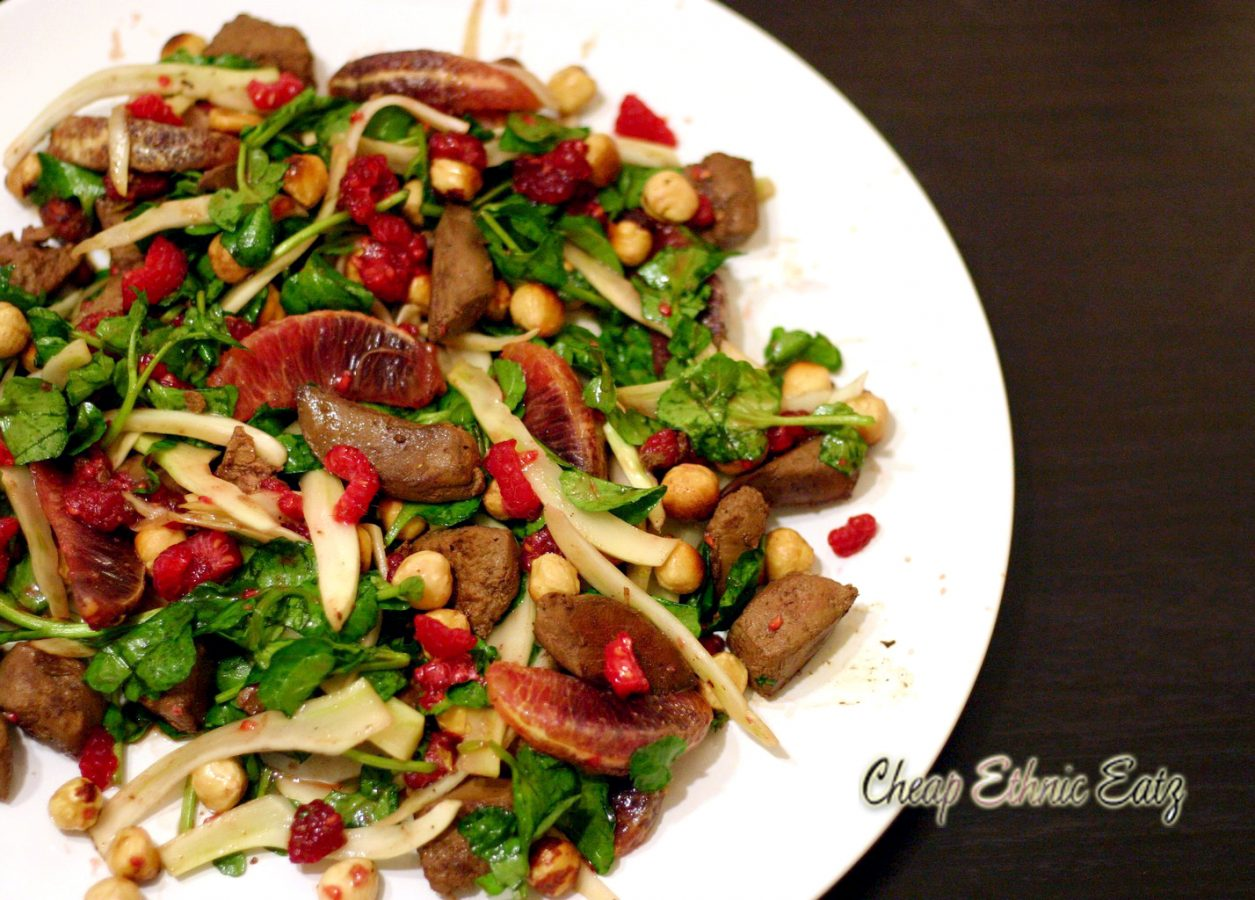 Lamb Liver Raspberries and Hazelnut Salad 1