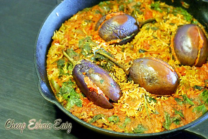 Stuffed-Baby-Eggplants-in-a-Dirty-Rice-Pilaf