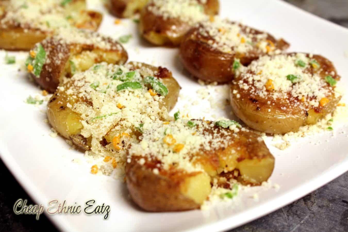 Pan Fried Smashed Potatoes