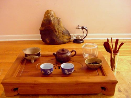 A traditional gongfu tea table