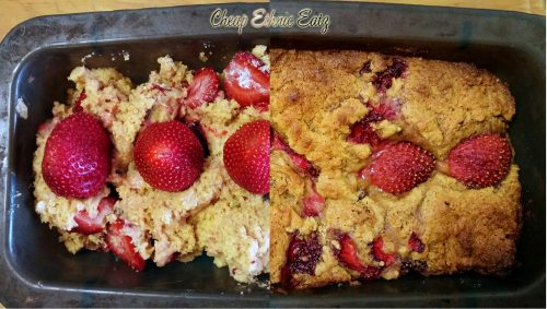 Strawberry and Date Malted Loaf before and after