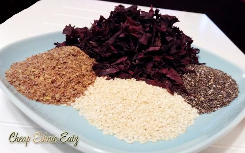sesame chia flax seeds and dulse