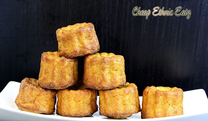 carrot curry caneles in a pyramid