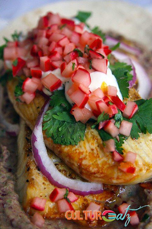Fish with a citrus vanilla gastrique radish salsa