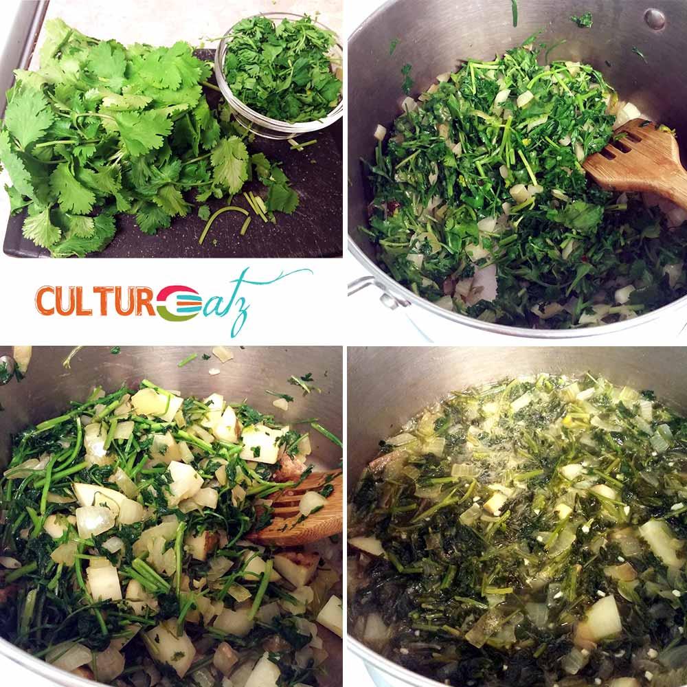 making the Parsley Cilantro soup