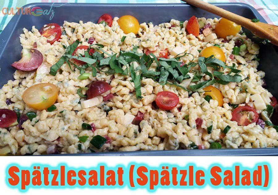 Spätzlesalat Cold Spätzle Salad mit basil