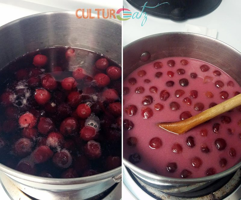 making the cold sour cherry soup
