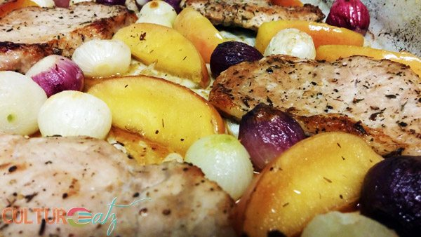 Pork Chops with Roasted Apples Pearl Onions and Thyme
