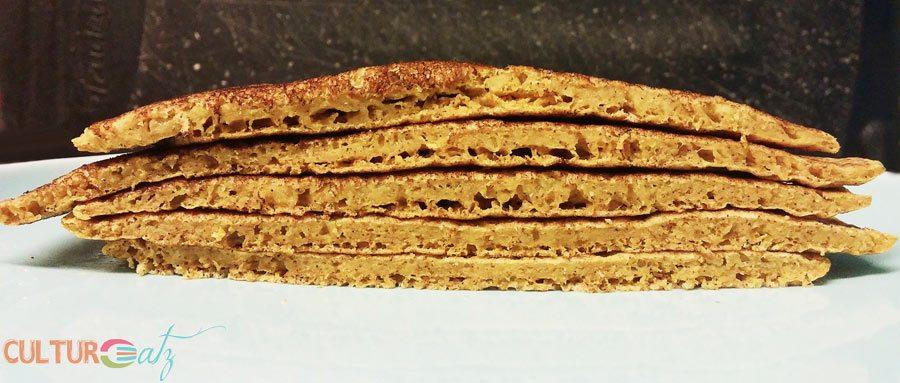 cattail pancakes cut vertically
