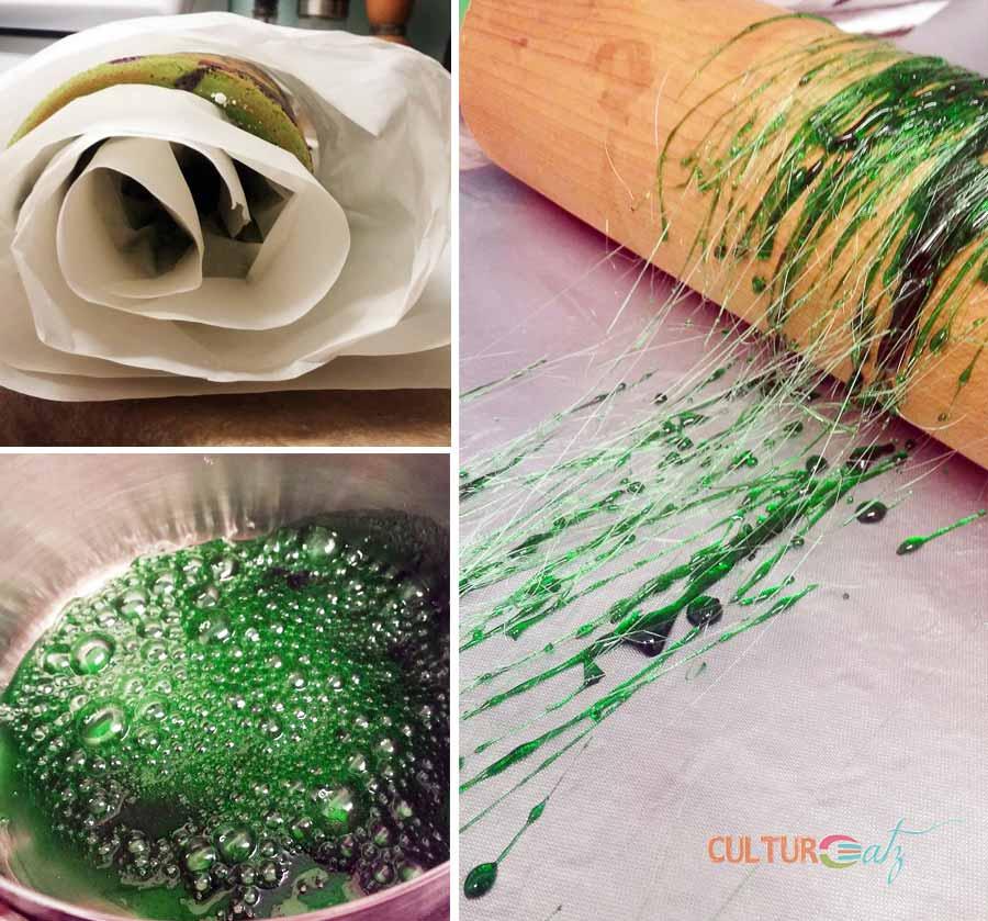 swiss cake roll cooling and spun sugar