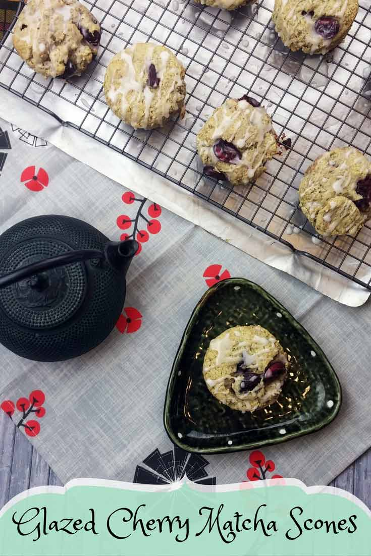 Glazed Cherry Matcha Scones