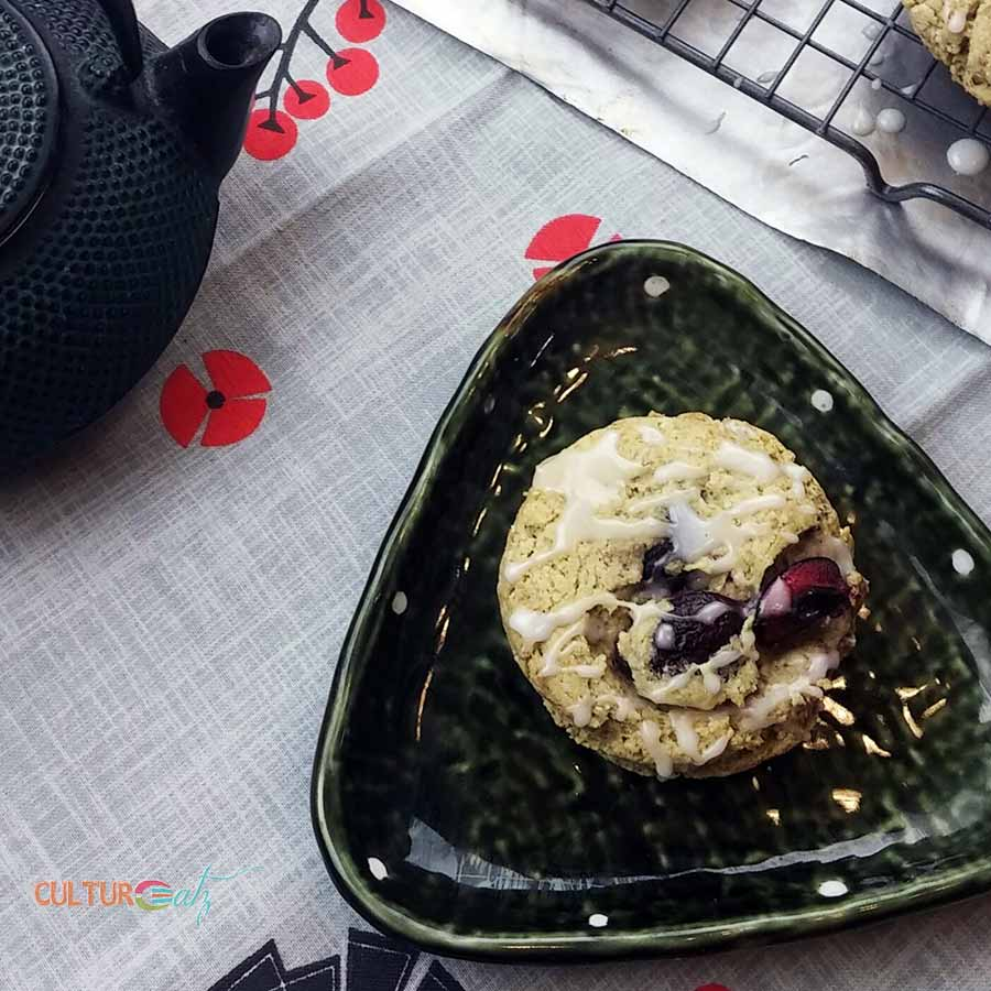 one Cherry Matcha Scones