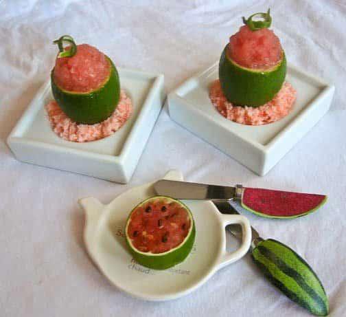 Secret Recipe Club: Watermelon Sorbet Served in a Lime Cup