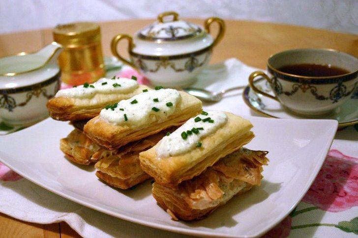 5 Star Makeover Tea Party: Salmon Duo Napoleon with Crême Fraiche