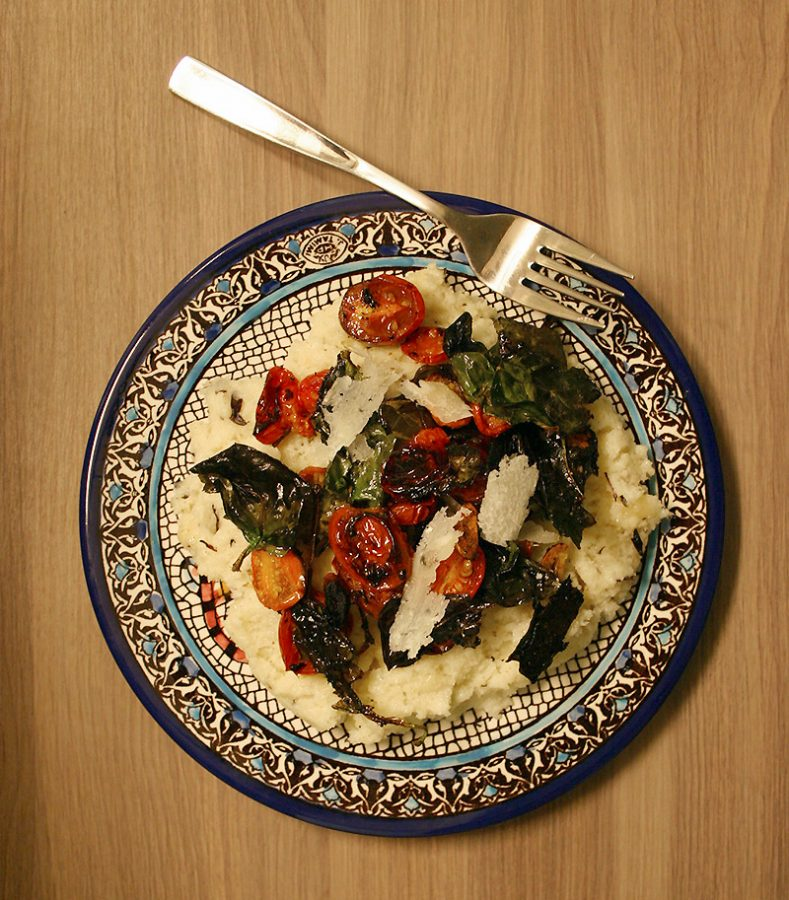 Basil Polenta with Roasted Spinach and Tomatoes