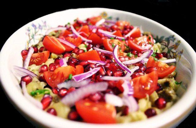 Burnt Eggplant Salad with Green Tahini Dressing