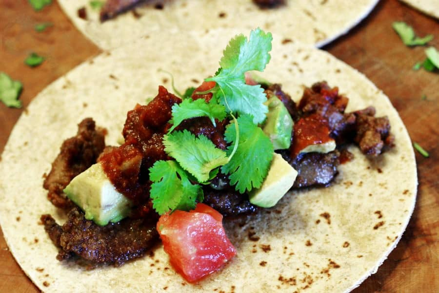 Chicken Liver Tacos with mole sauce