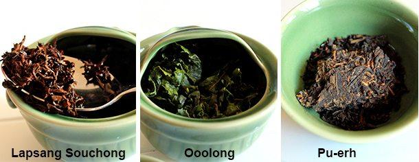 Lapsang Souchong Ooolong and Pureh teas