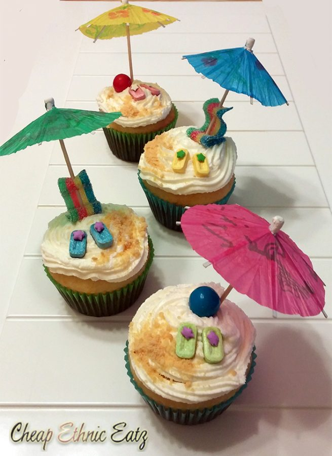 Beach themed Lemon Cupcakes
