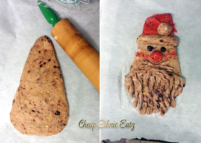 Fruity Santa Bread shaping