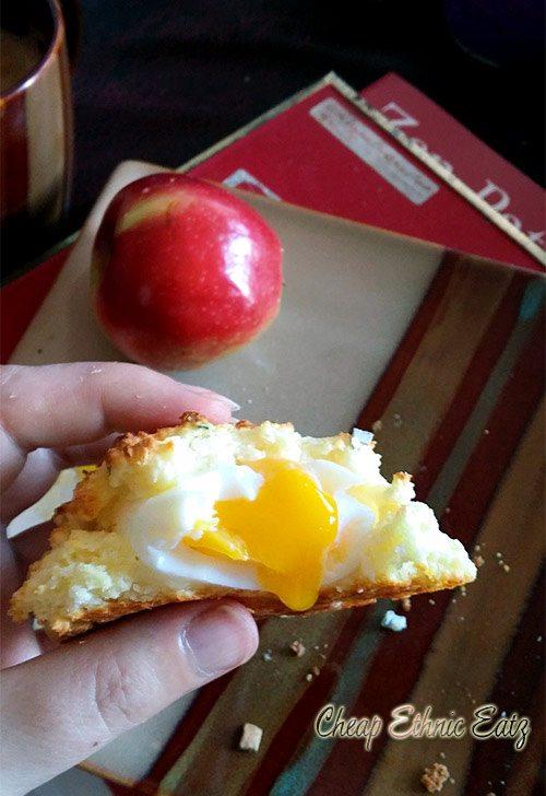 Sage Egg Biscuit Surprise soft-boiled egg yolk