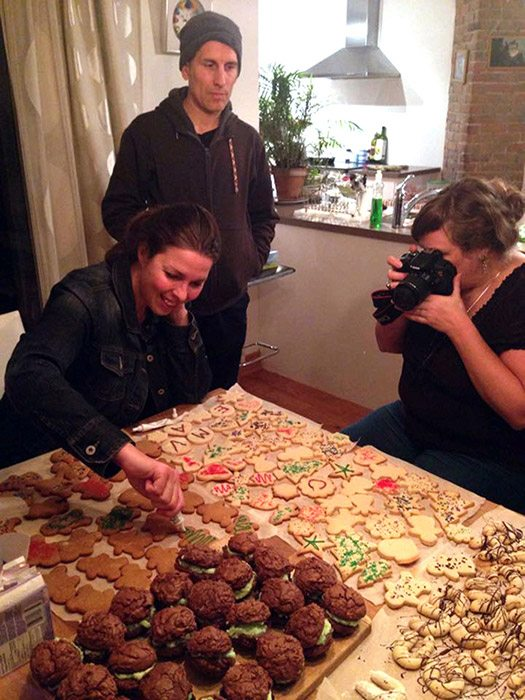 Catherine decorating cookies