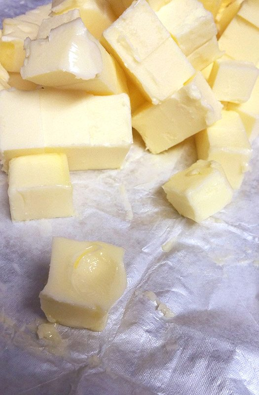 warmed butter for the Swiss Meringue Buttercream