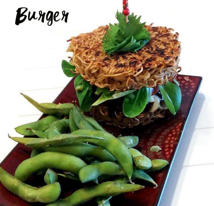 Ramen Burger with Teriyaki Sauce