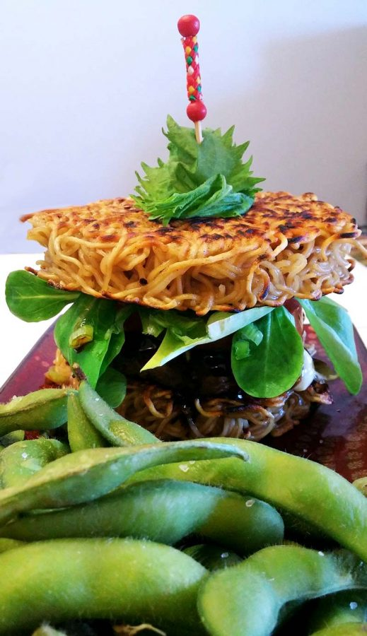 Ramen Burger and edemame