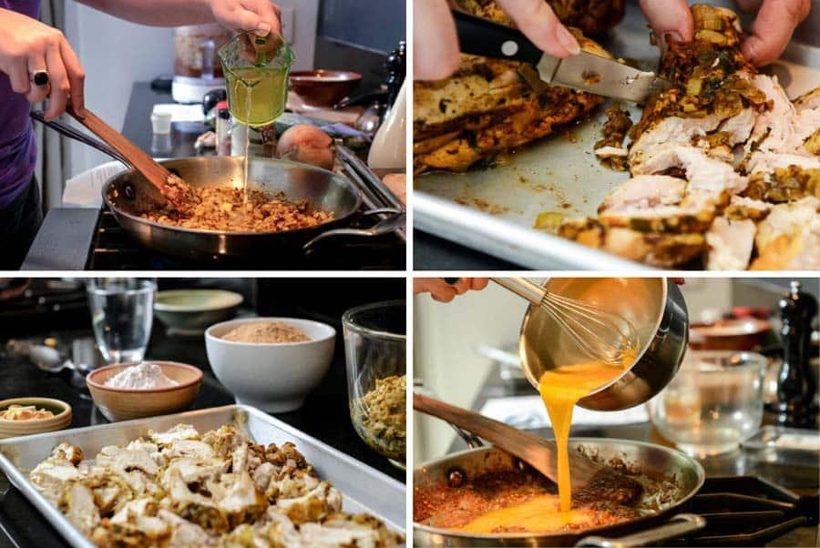 Chicken Bastilla preparation