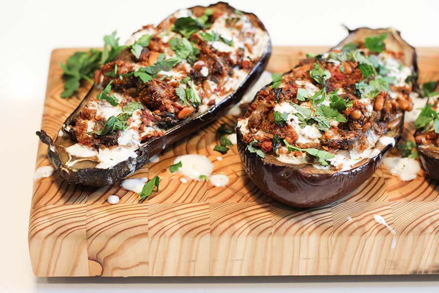 Roasted Stuffed Eggplant