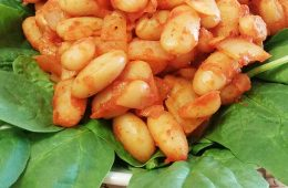 Ketchup-and-Beans-with-Spinach-closeup