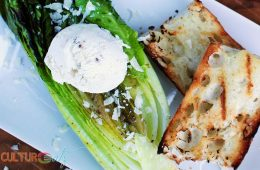 Anchovy Ice Cream on Grilled Caesar Salad