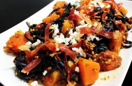 Squid Ink Pasta with Pumpkin and proscuitto