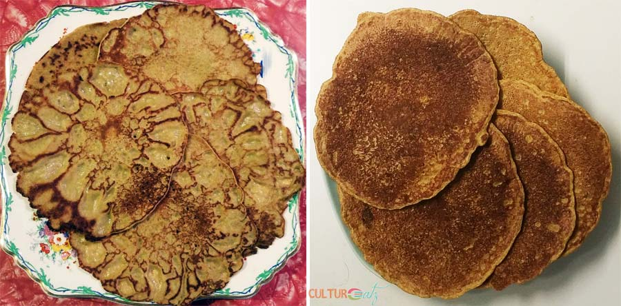 cattail pancakes without and with levener