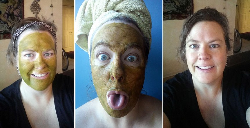 vegan beauty during and fater matcha mask