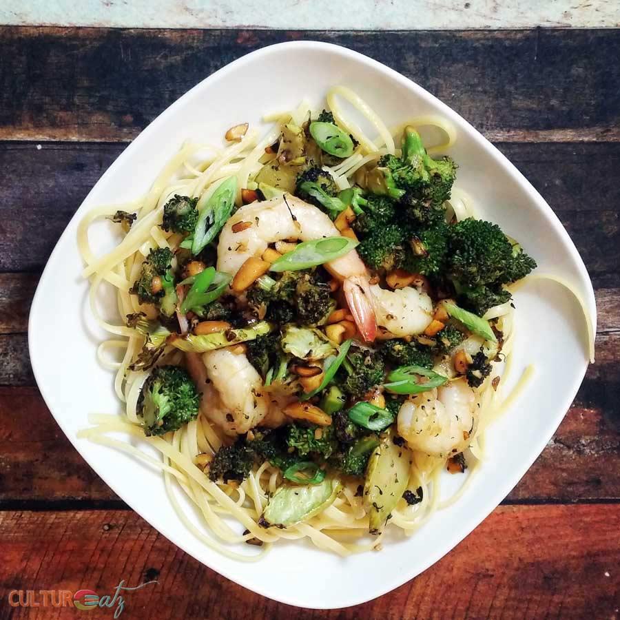 Charred Broccoli Shrimp Pasta