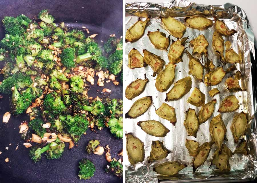 Charred Broccoli Shrimp Pasta florest and stems
