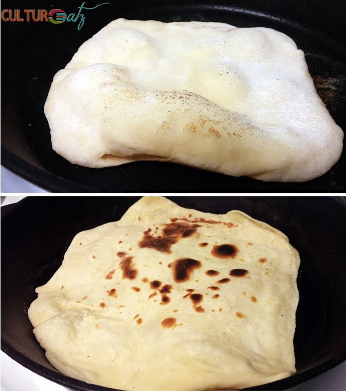 frying the Sabaayad flatbread