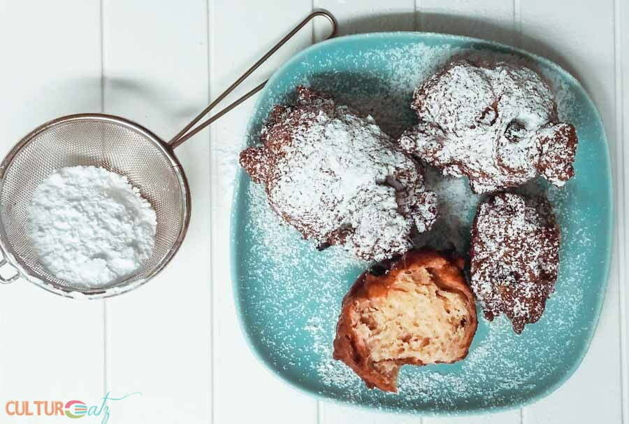 powdered Traditional Dutch Food Oliebollen Dutch Doughnut
