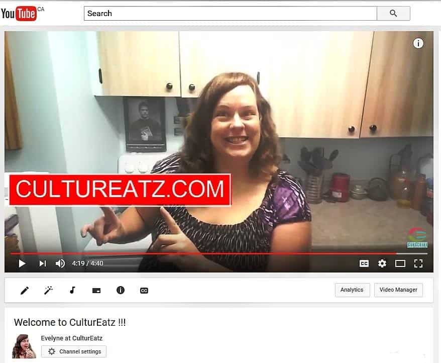 Evelyne at CulturEatz YouTube channel