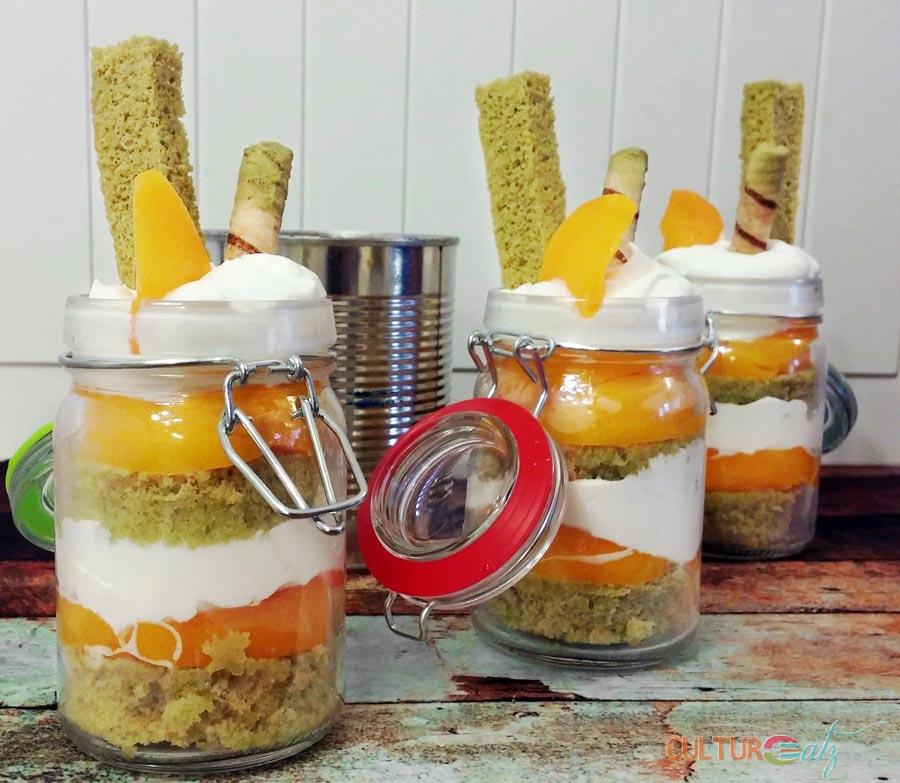 Peaches and Cream Trifle dessert jars