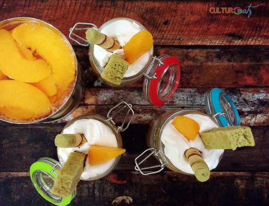 Peaches and Cream Trifle jars